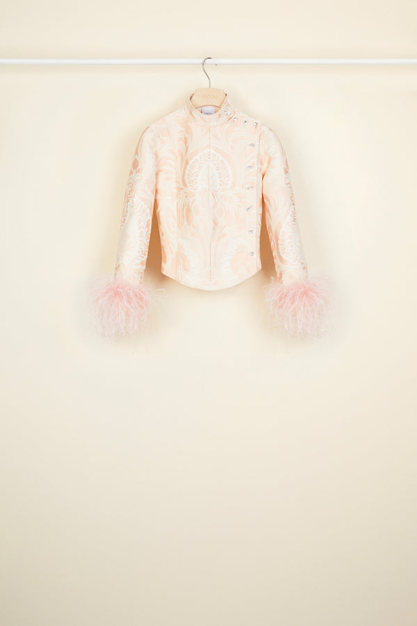 Feather-embellished silk brocade jacket