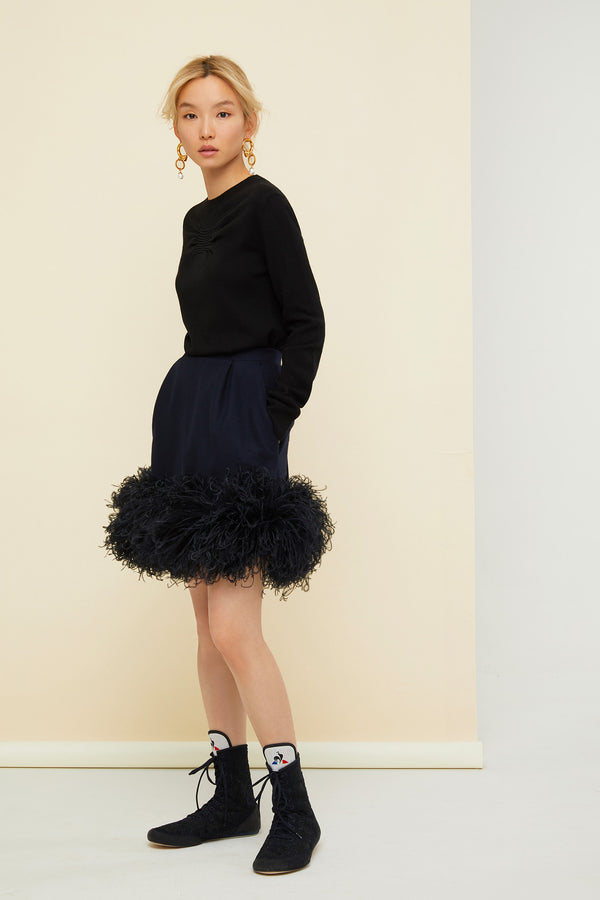 Patou - Feather-embellished pleated skirt - Image 2 of 5