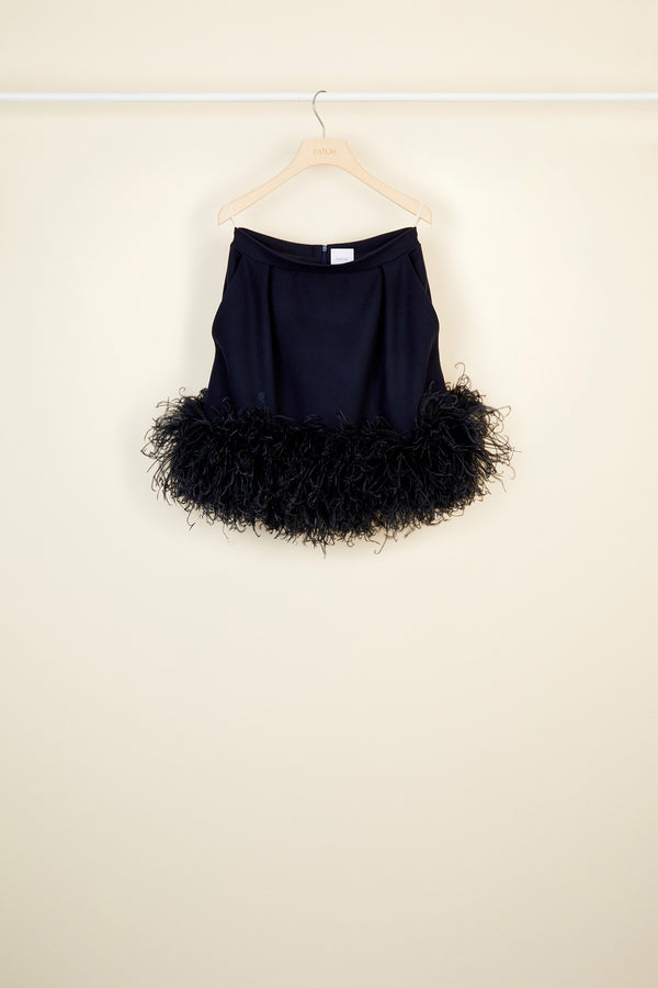 Image 4 of 5 - Feather-embellished pleated skirt