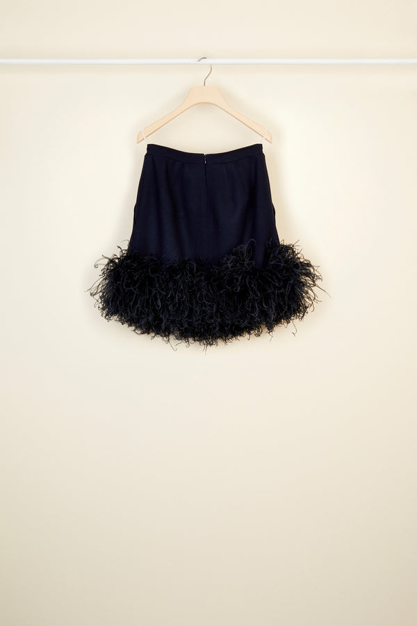 Image 5 of 5 - Feather-embellished pleated skirt