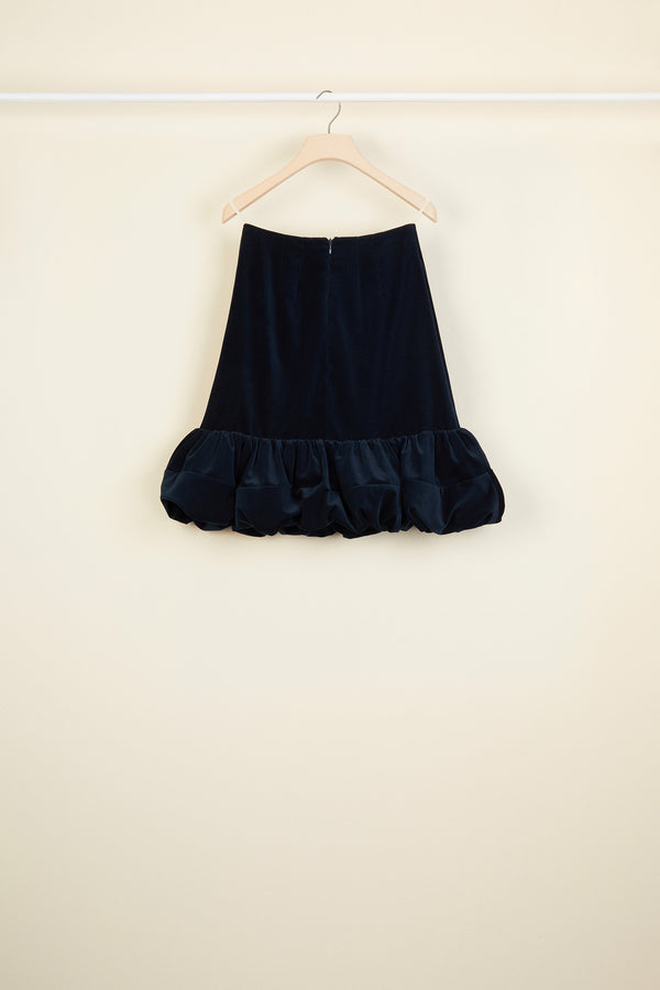 Bubble hem velvet skirt