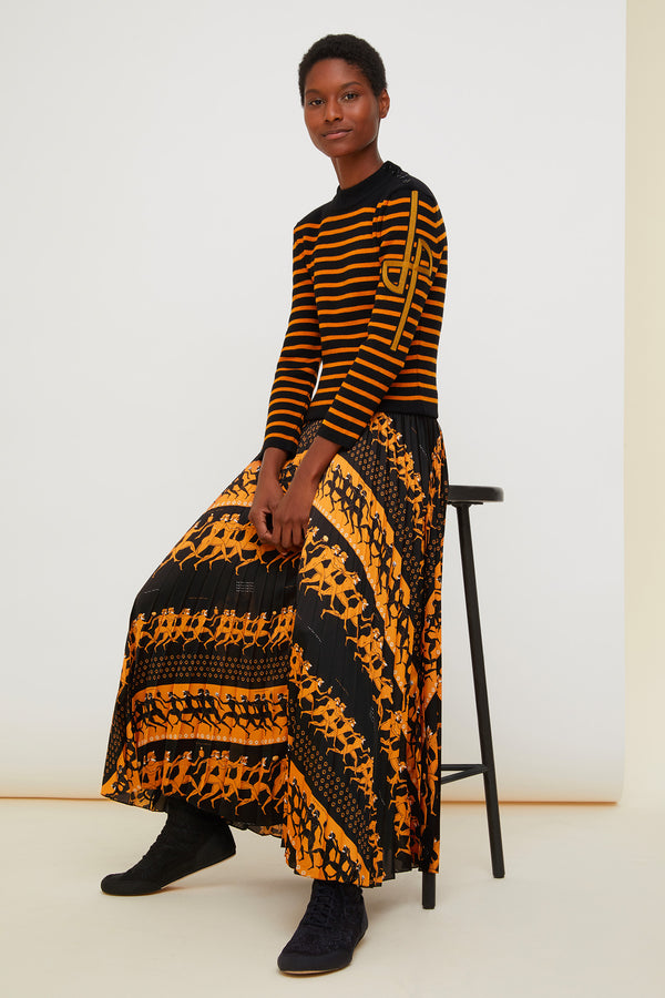 Image 1 of 4 - Pleated maxi printed skirt