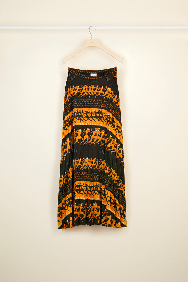 Image 3 of 4 - Pleated maxi printed skirt