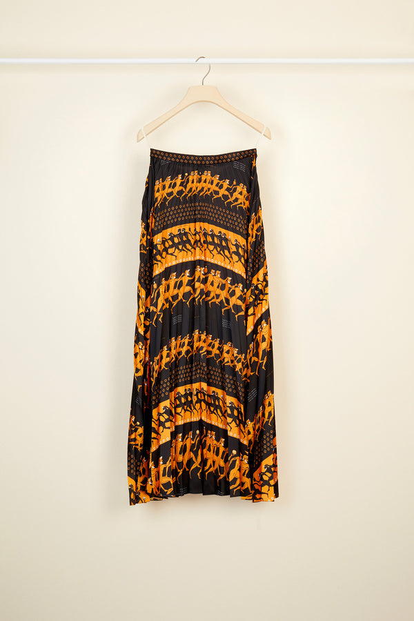 Image 4 of 4 - Pleated maxi printed skirt