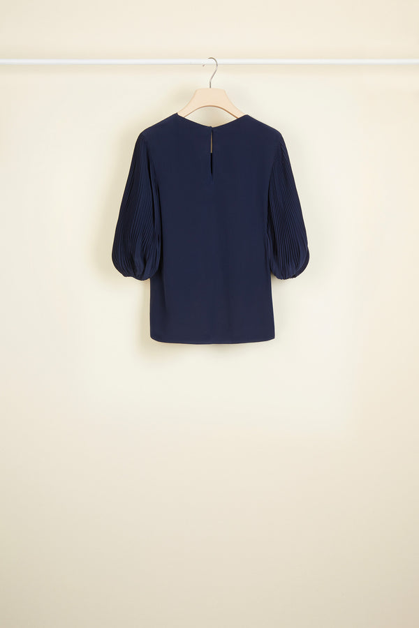 Image 3 of 3 - Cut Bow Top - Navy