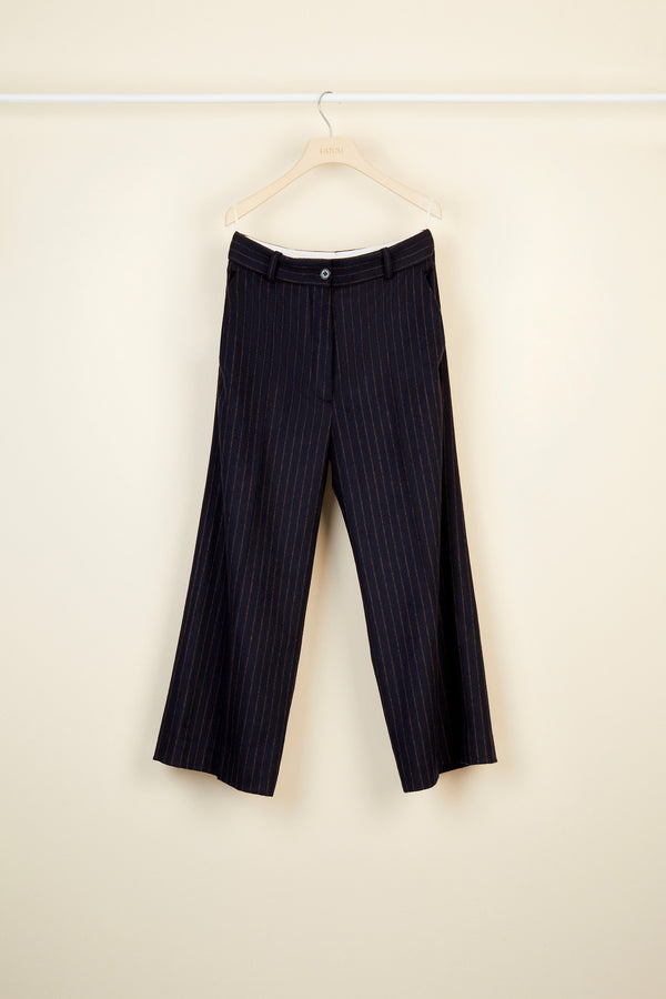 Chalk stripe wool straight leg trousers