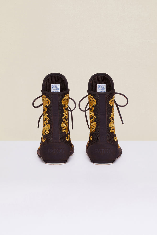 Patou - Embroidered high-top trainers - Havana - Image 6 of 8