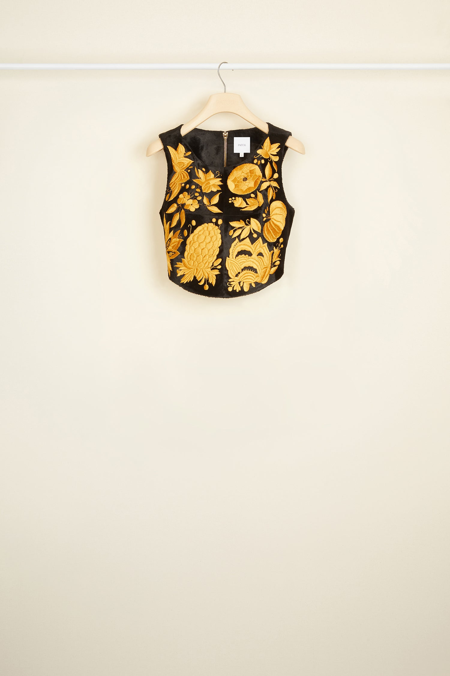 Patou - Gold embroidered faux pony skin bustier
