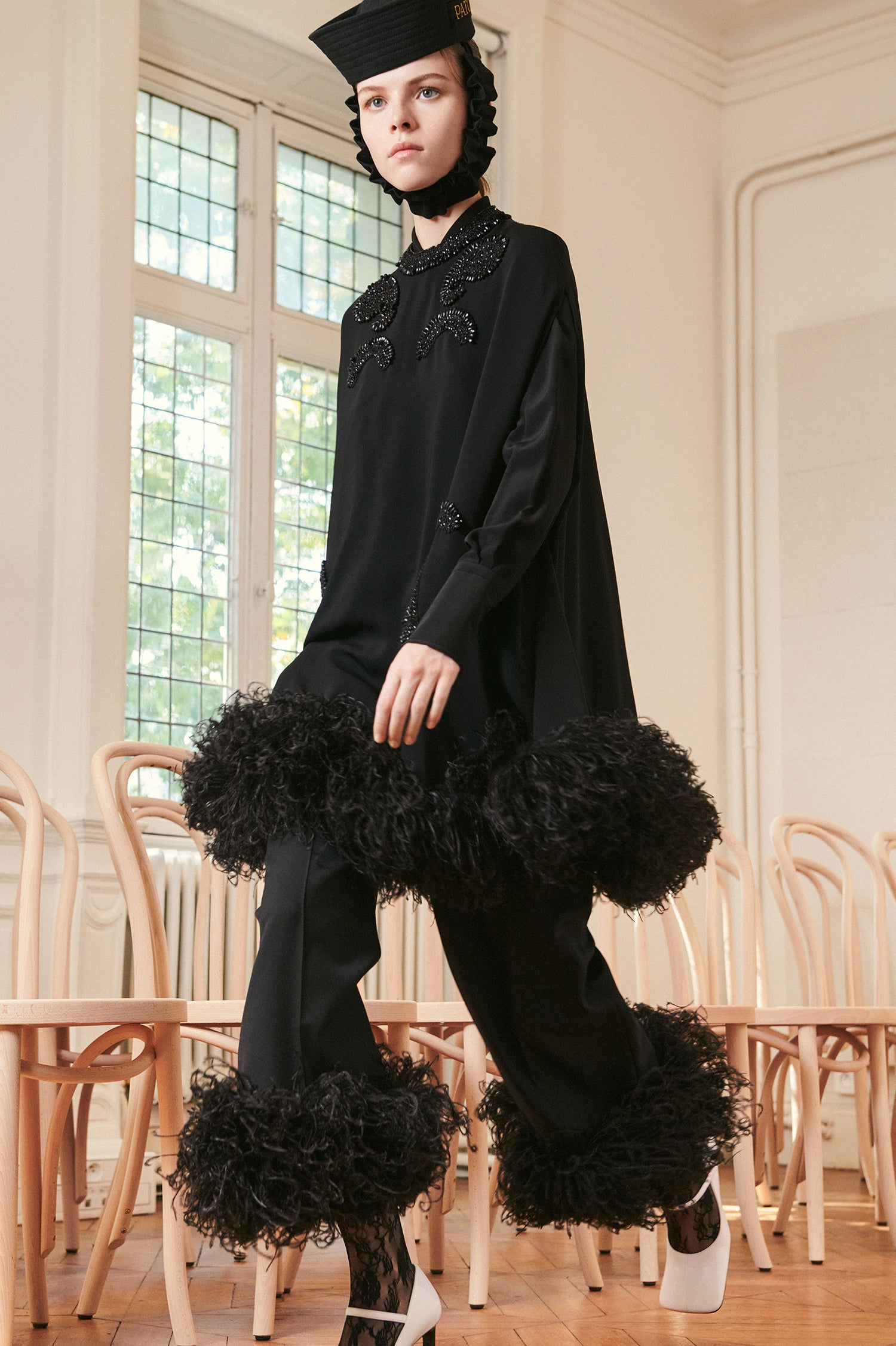 Patou - Cape dress embroidered with feathers