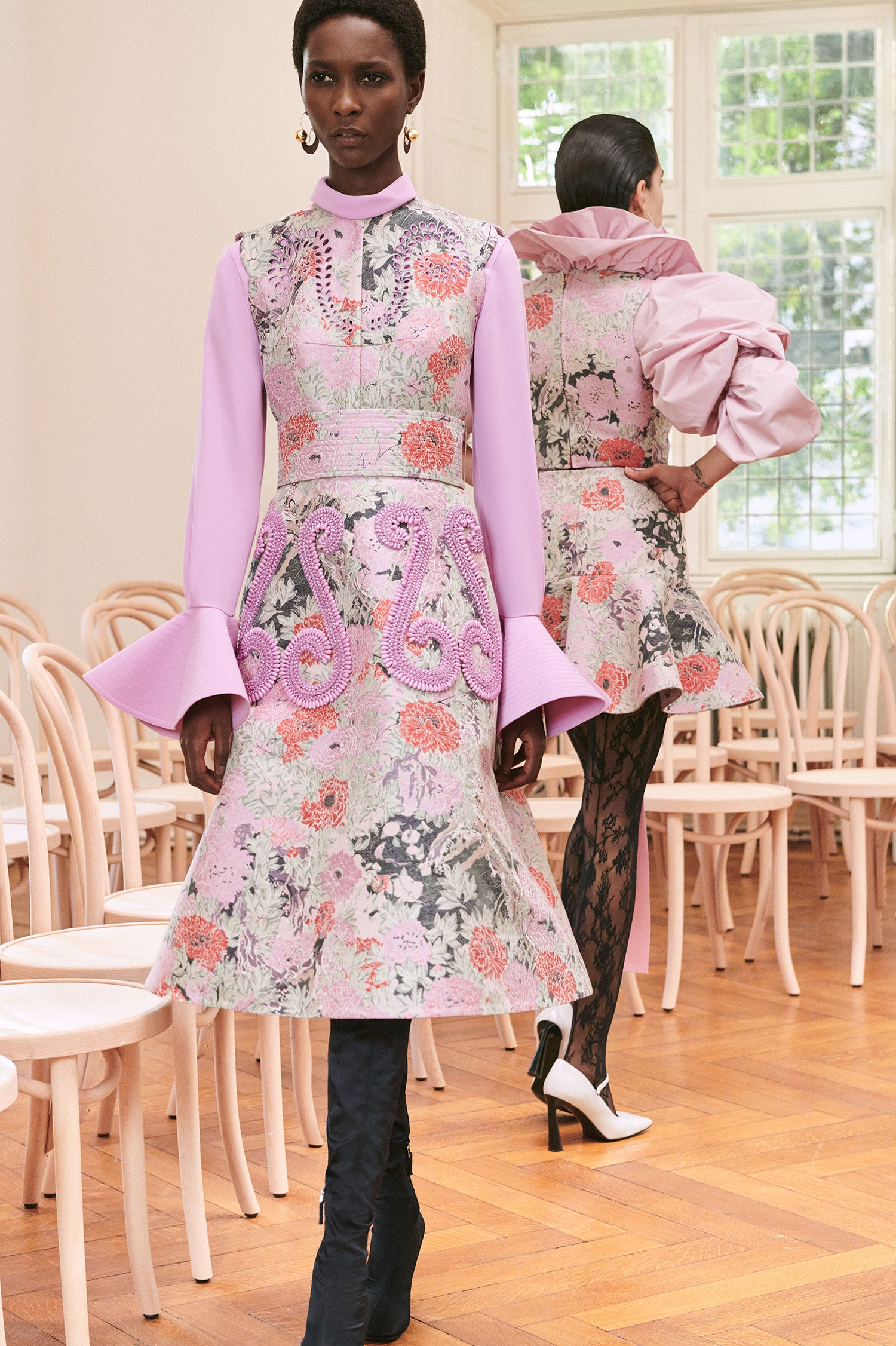 Patou - Floral jacquard dress with embroidery