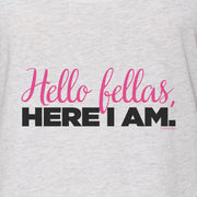Bridesmaids Hello Fellas Here I Am Women's Tri-Blend Racerback Tank Top