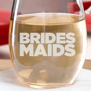 Bridesmaids Logo Laser Engraved Wine Glass