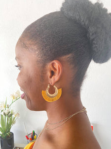 Mustard Hammered Tassel Hoop Earrings