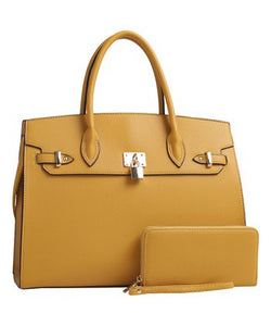 Mustard Padlock-Accent Satchel and Wristlet Set