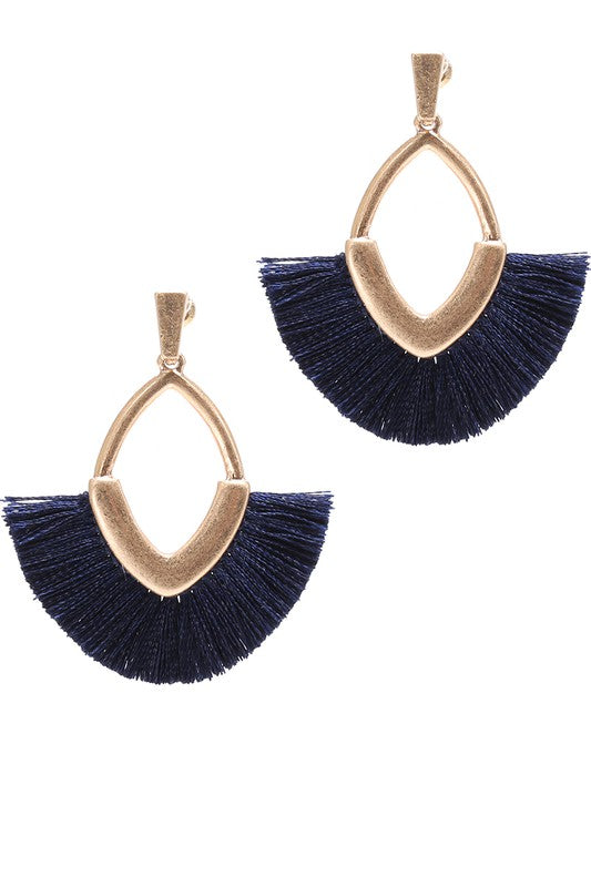 Diamond Shape Tassel Dangle Drop Post Earrings.
