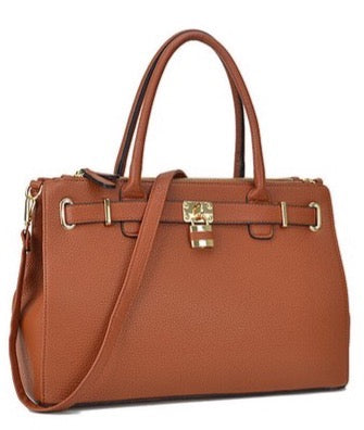 Lavani Cognac Padlock Double Zipper Satchel
