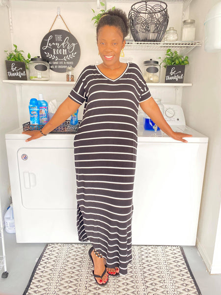 KEEP IT  CASUAL BLACK  & IVORY STRIPE MAXI DRESS WITH POCKET