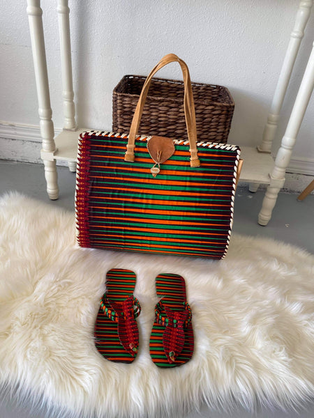 Beautiful African Tote Bag with Matching Slippers.