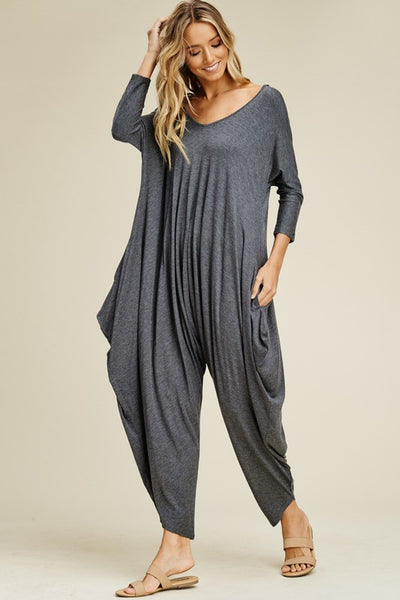 Mid Gray Back Strap Harem Jumpsuit
