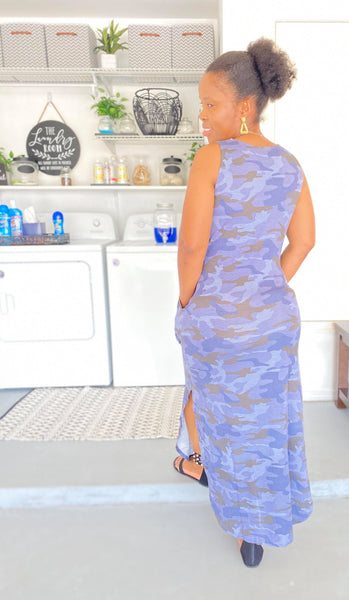 SATURDAY MORNING NAVY CAMOUFLAGE PRINT SLEEVELESS MAXI DRESS