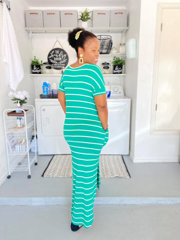 KEEP IT  CASUAL KELLY GREEN & IVORY STRIPE MAXI DRESS WITH POCKET