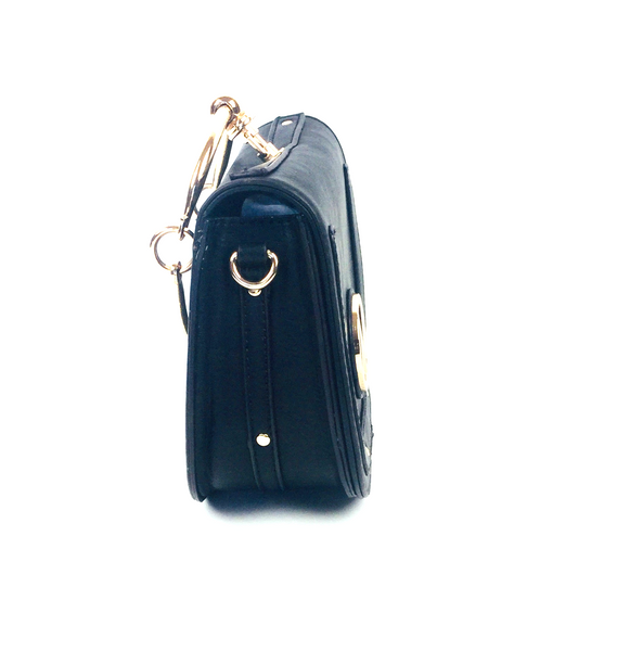 Black Ring-Accent Saddle Crossbody Bag.