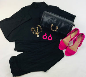 She Is  Fearless Black Stretchy Two Pieces Set