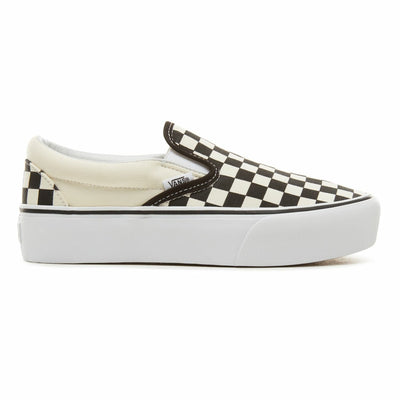 UA Classic Slip-On Platform Black and White Checker/White Kadın Spor Ayakkabısı