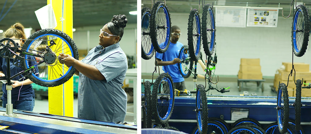 (left) A BCA assembly line worker does some work on the spokes of the wheels. (right) A general shot of the BCA Factory assembly line carrying tires through the factory.