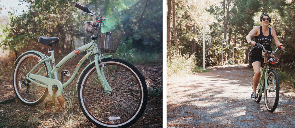 "(left) 26"" Women's Margaritaville Coast is Clear (right) A mother rides the same Margaritaville down the road on a summer vacation."