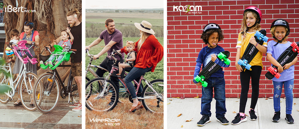 iBert by Kazam (left) A family on a bike ride with their pink and green iBert-Safe-T-Seats. (middle) A couple of new parents taking their daughter for a bike ride with a WeeRidebyKazam Kangaroo Deluxe. (right) Three kids holding up Kazam Shortboards