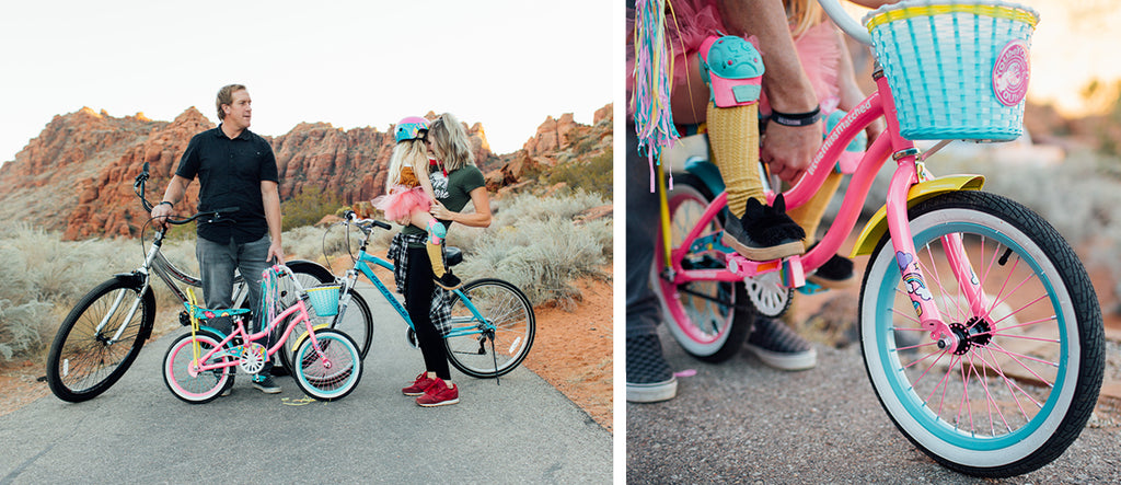 "(left) A family bike ride having a happy moment beside a Girl's LittleMissMatched Let You Be You Unicorn and a 24"" Girl's Glendale. (right) Little girl learning to ride on a 12"" Girl's LittleMissMatched Let You Be You Unicorn"