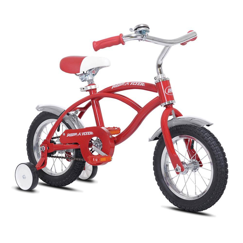 "12"" Boy's Radio Flyer - Red & Silver Bike with Training Wheels & Fenders"