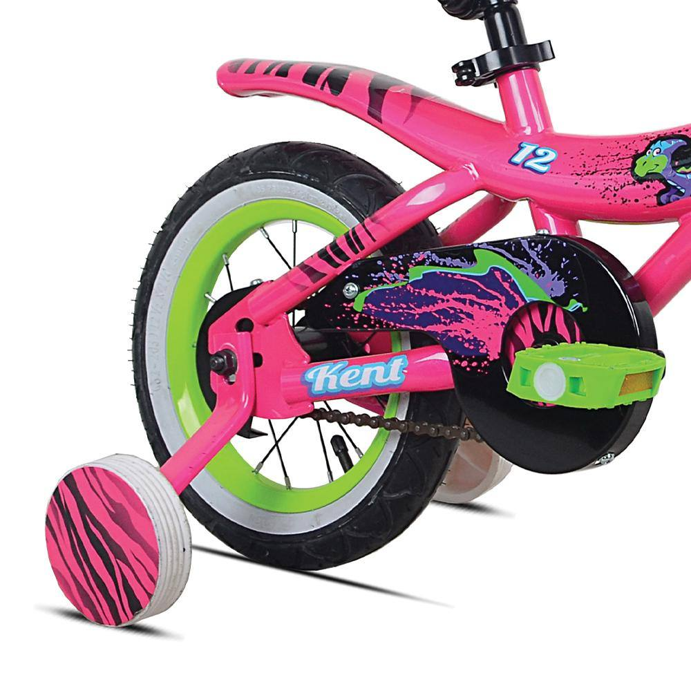 Pink and White Training Wheels With Black Stripes