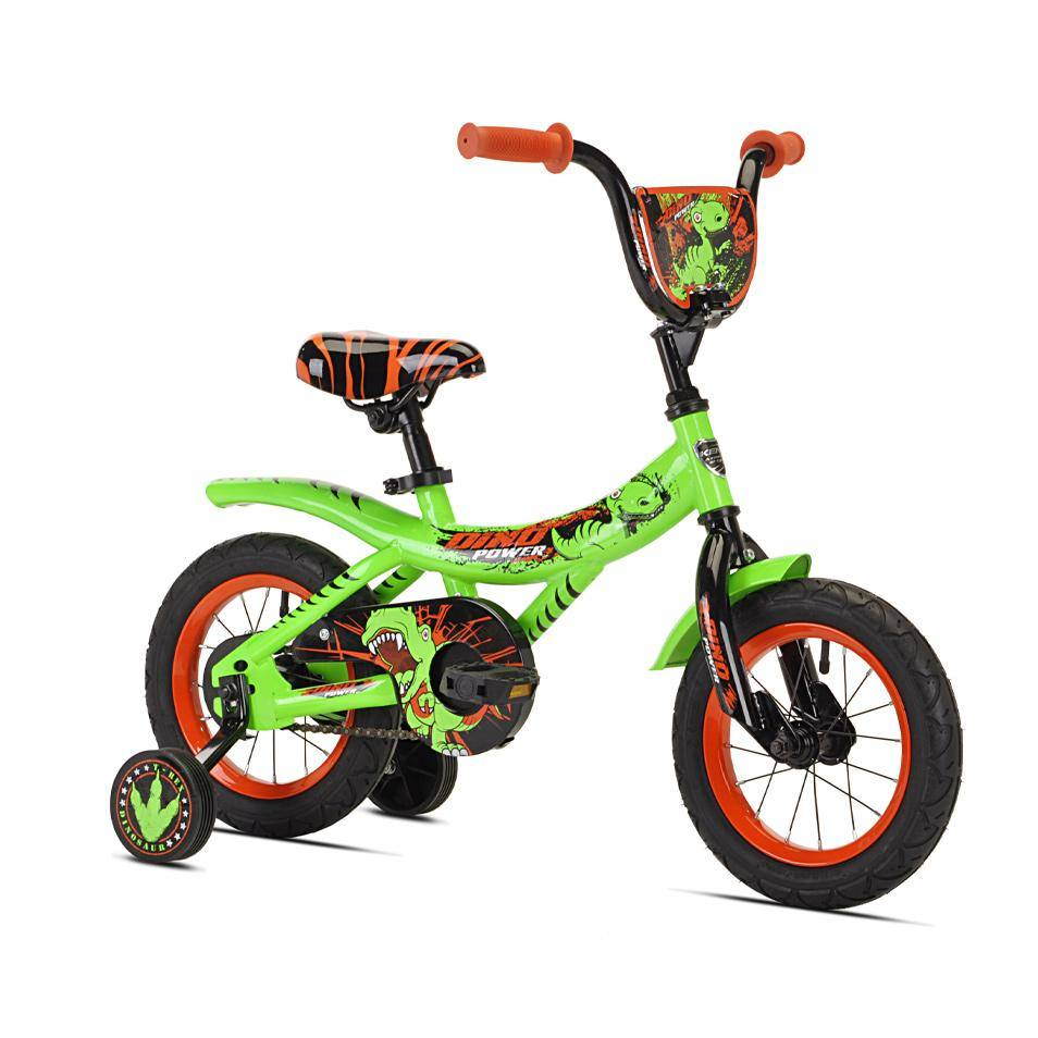 Green boys's bike with fun dinosaur designs and orange patterns, with Dino themed training wheels. Black and orange wheels