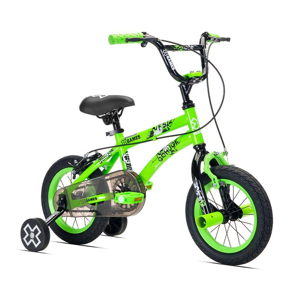 Green 12 inch X-Games boy's bike with training wheels