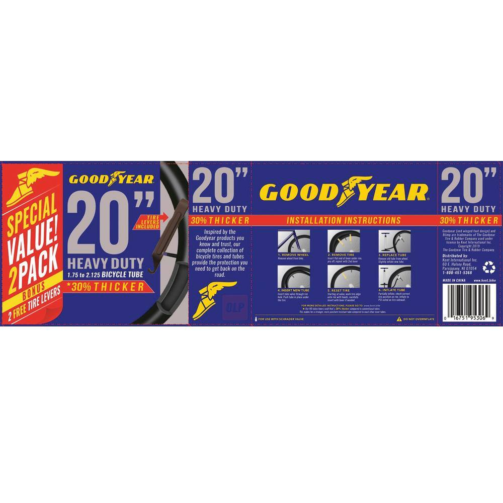 "Goodyear 20"" x 1.75""-2.125"" Heavy Duty Bike Tube, 2 Pack"