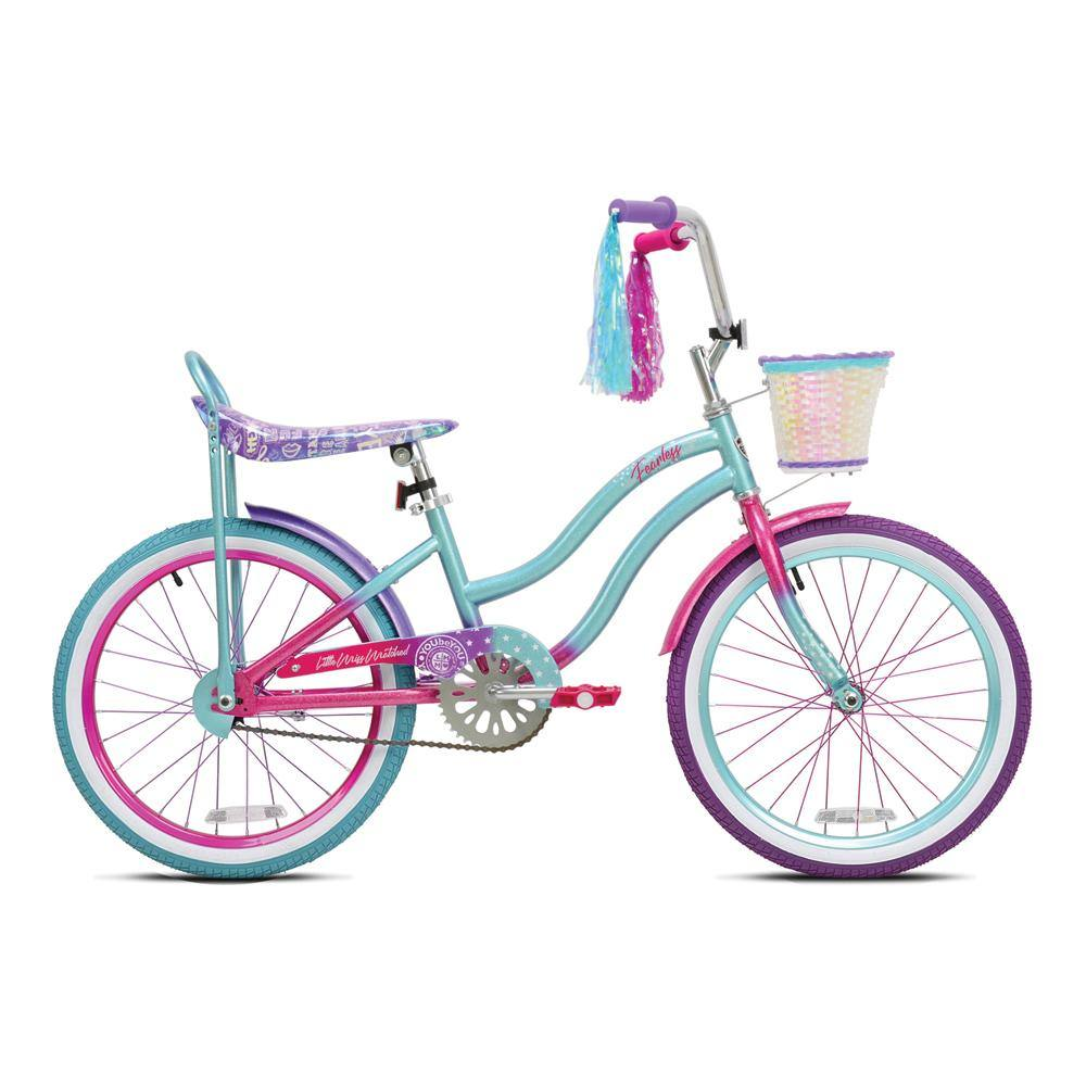 "20"" LittleMissMatched Fearless - Light Blue Cruiser with Banana Seat and Mismatched Wheels and Tires"
