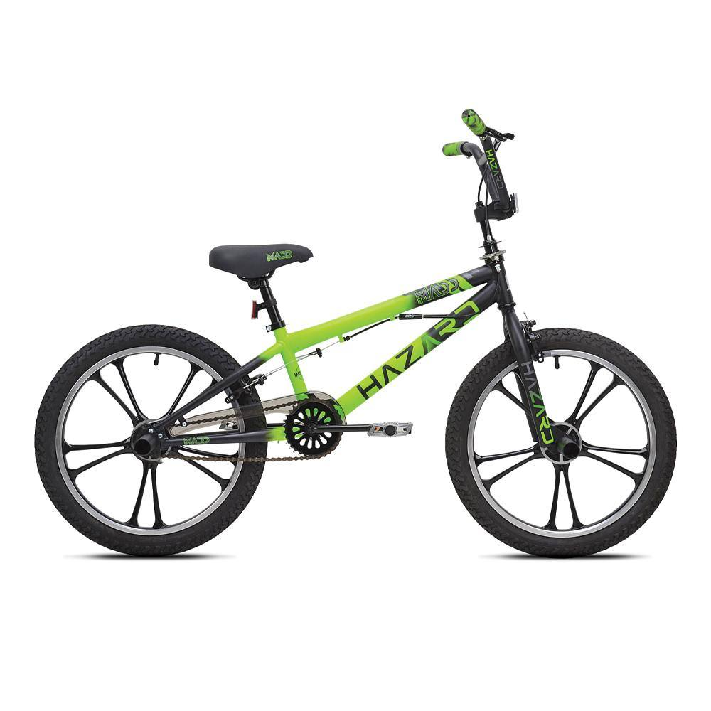 "20"" Boy's MaddGear Hazard - Lime Green BMX Bike"