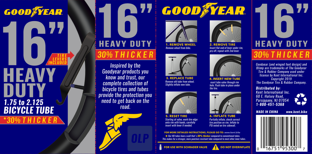 "Goodyear 16"" x 1.75-2.125 Heavy Duty Bike Tube"