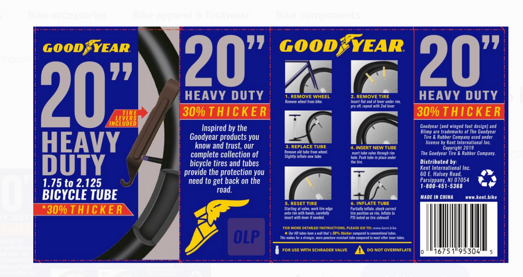 "Goodyear 20"" x 1.75-2.125 Heavy Duty Bike Tube, Tire Levers included"
