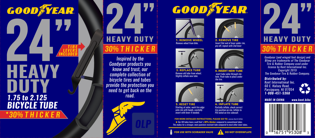"Goodyear 24"" x 1.75-2.125 Heavy Duty Bike Tube"