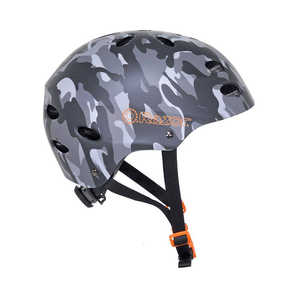 Boy's or Girl's Razor Camo Satin Gray Youth Helmet