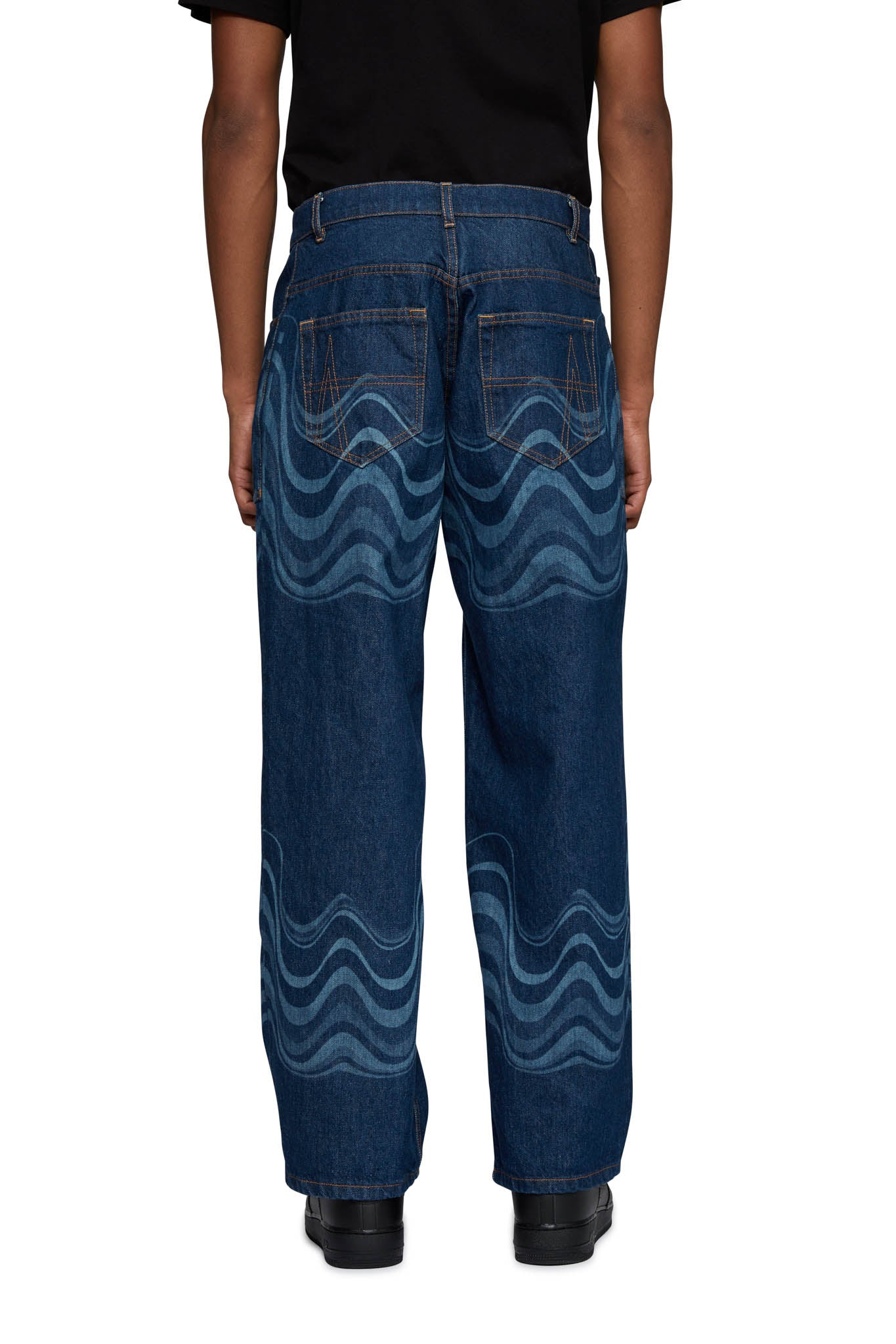 AHLUWALIA, 2B LOW RISE JEANS, BLUE, AW20AS27, AW20, COTTON, JEANS, MENS