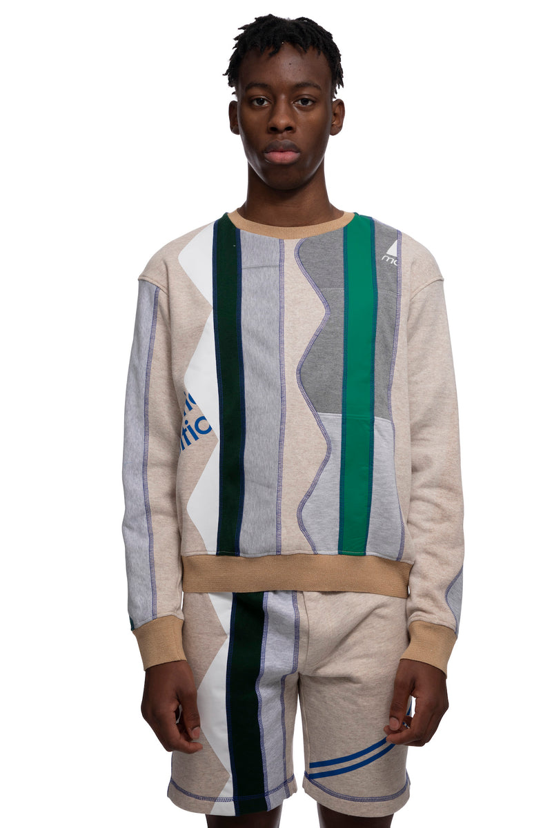 HTOWN, AHLUWALIA, AHLUWALIA MENSWEAR, HTOWN AHLUWALIA, AHLUWALIA ZIGZAG CREW, ZIGZAG CREW, AHLUWALIA PATCHWORK CREW, RECYCLED COTTON CREW, PATCHWORK CREW, PATCHWORK SWEATSHIRT, AHLUWALIA RECYCLED SWEAT, RECYCLED CUT OFF CREW, RECYCLED COTTON, LONDON DESIGNER, LONDON BOUTIQUE, SPRING SUMMER 2021, SS21, LUXURY DESIGNER, LUXURY FASHION, MEN'S LUXURY PATCHWORK CREW, LUXURY CREW, LUXURY PATCHWORK CREW