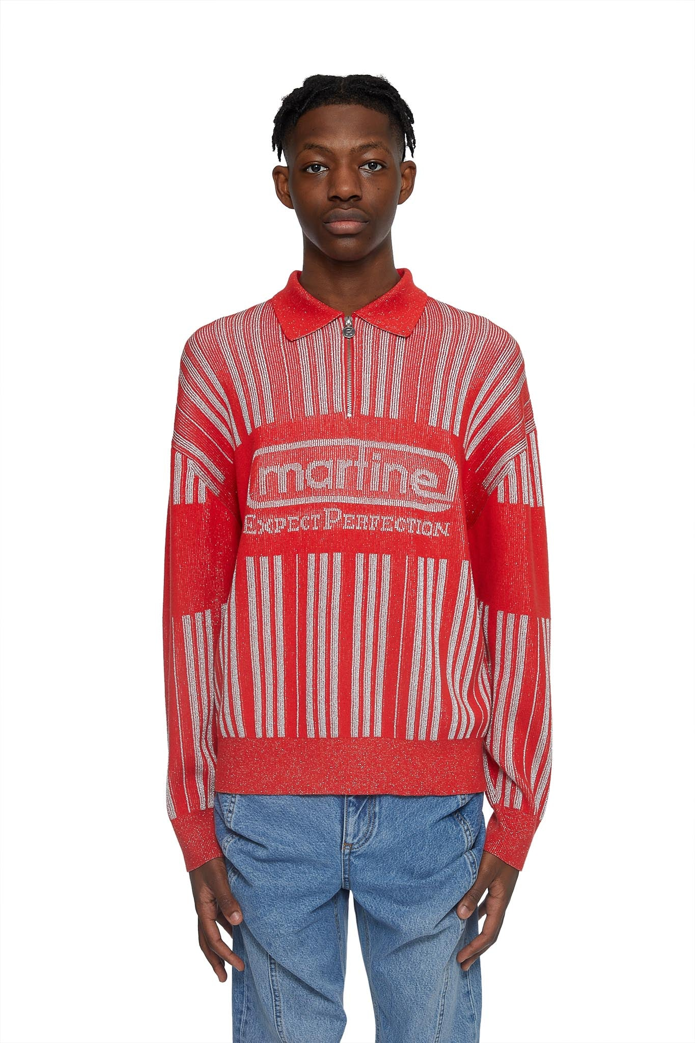 martine rose, prysm 3/4 zip polo knit, RED, MRAW20-924, SWEATER, AW20, LUREX, MENS, SWEATER
