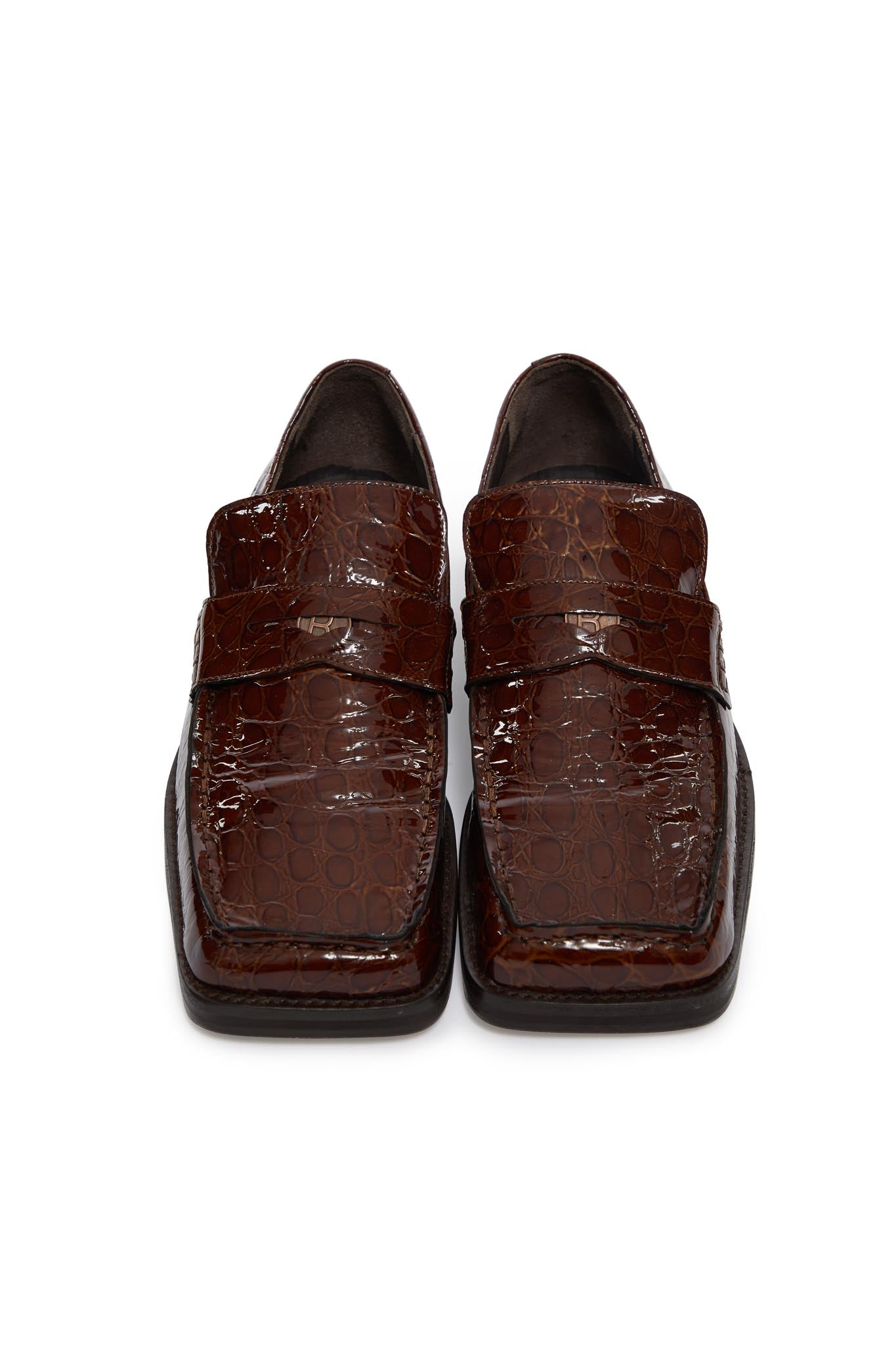 martine rose, roxy m crocodile loafer, BROWN, FMROMRXY1051A8, SHOES, AW20, LEATHER, LOAFER, MENS, SHOES