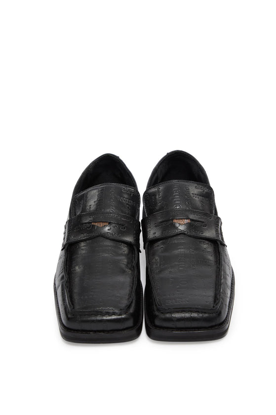 martine rose, roxy m embossed text loafer, BLACK, FMROMRXY109054, SHOES, AW20, LEATHER, LOAFER, MENS, SHOES