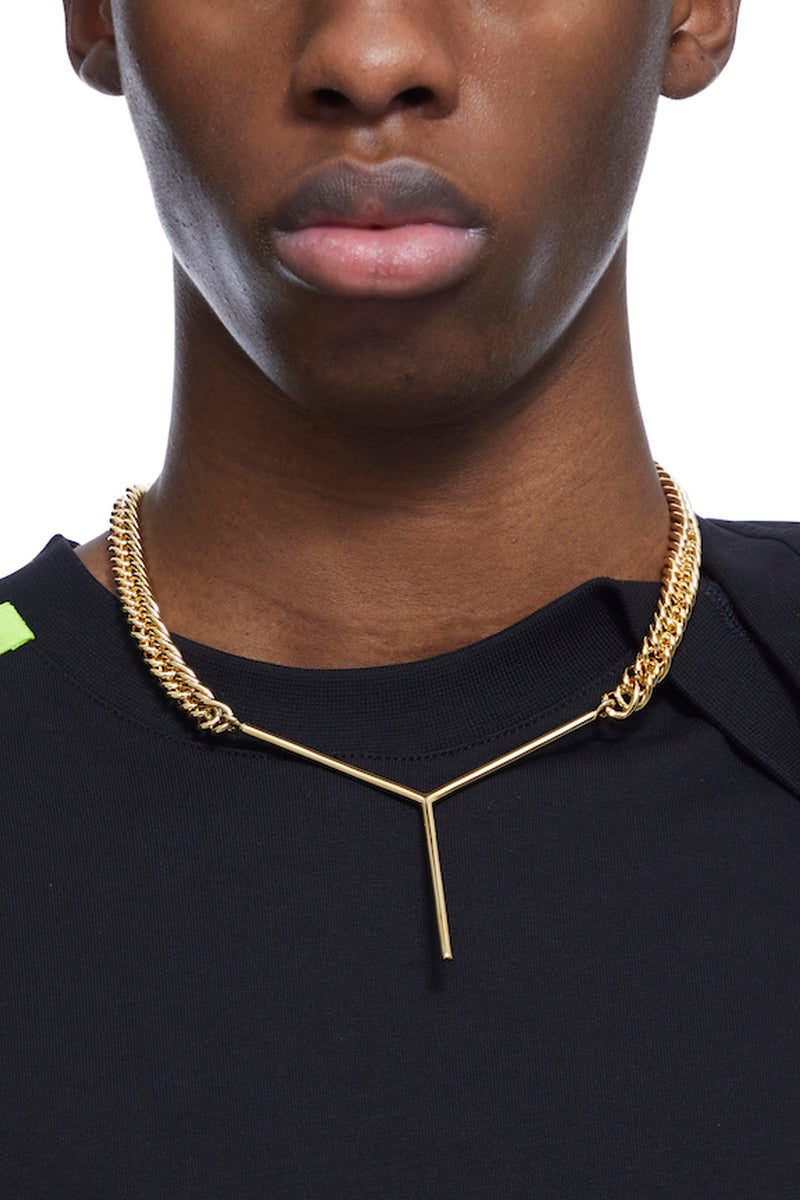 HTOWN, Y/PROJECT, Y/PROJECT JEWELLERY, HTOWN Y/PROJECT, Y/PROJECT MAXI Y NECKLACE, MAXI Y NECKLACE, Y/PROJECT CUBAN LINK NECKLACE, Y/PROJECT Y NECKLACE, Y/PROJECT GOLD NECKLACE, Y/PROJECT CUBAN LINK,NECKLACE, FRENCH DESIGNER, LONDON BOUTIQUE, SPRING SUMMER 2021, SS21, LUXURY DESIGNER, LUXURY FASHION, LUXURY NECKLACE,DESIGNER NECKLACE, DESIGNER GOLD NECKLACE, BRASS NECKLACE
