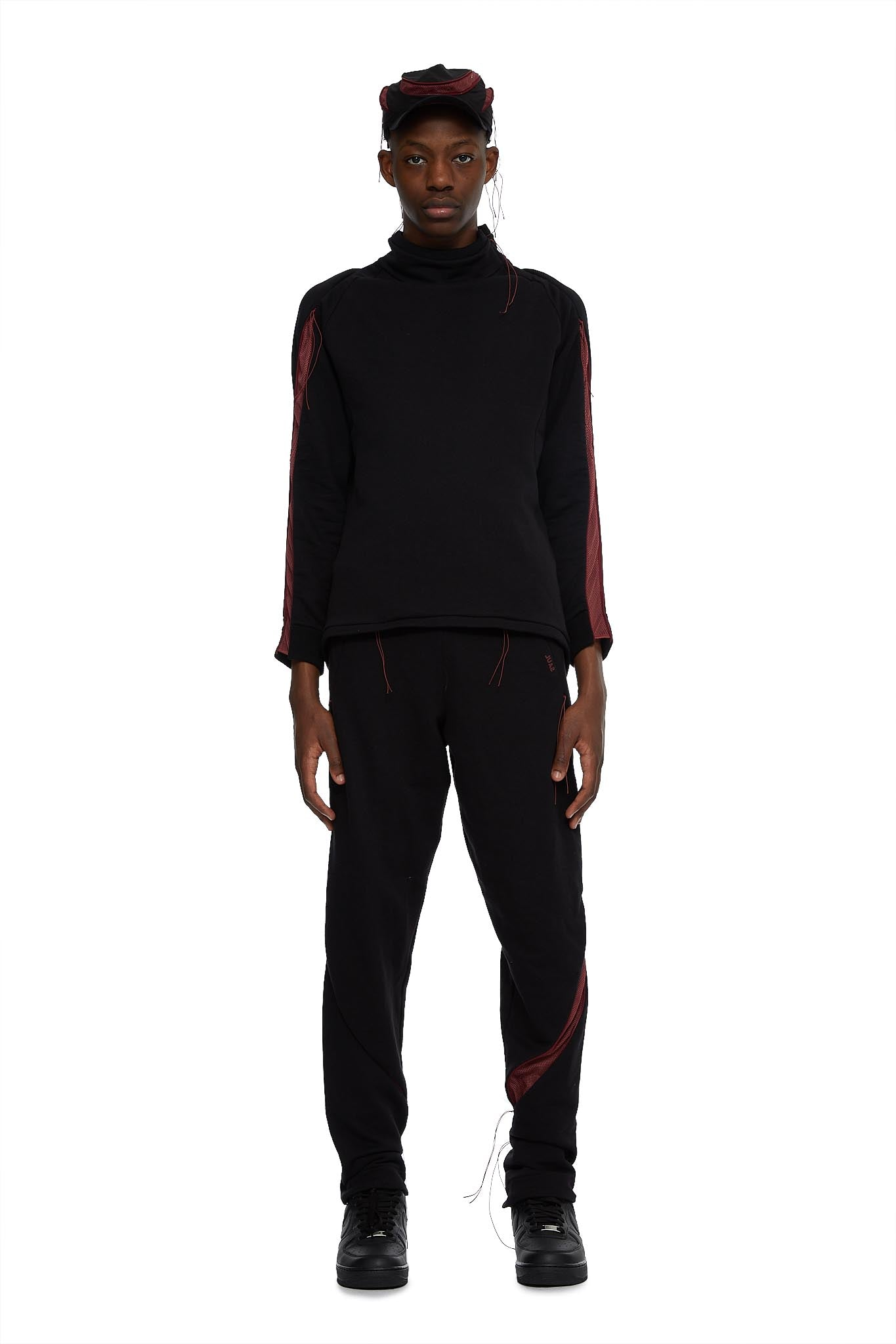 SAUL NASH, zip through pant, BLACK / RED, AW20SN38, TROUSERS, AW20, COTTON, MENS, TROUSERS